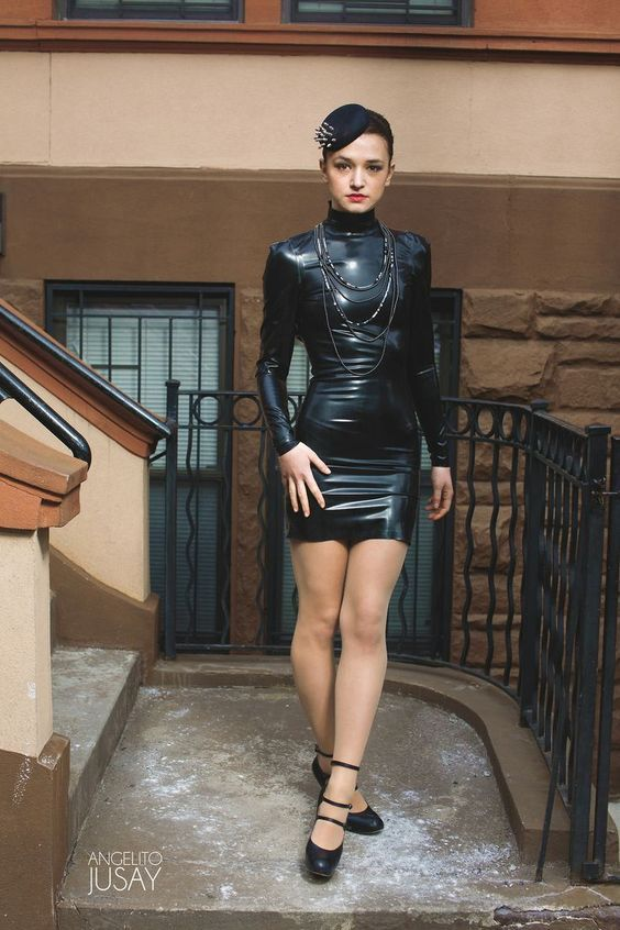 Skin Tight Black Latex Long Sleeved Mini Dress With