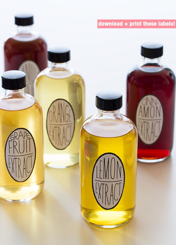 Homemade cinnamon, orange, lemon, vanilla and grapefruit extracts, plus homemade labels!
