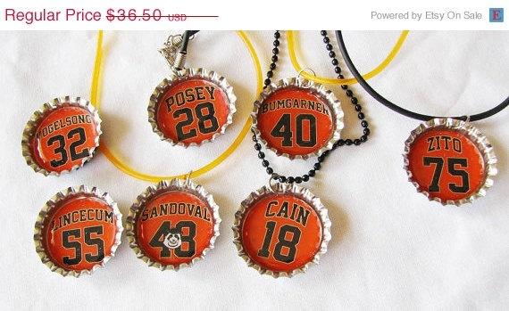 SALE Matt Cain, Buster Posey,  MLB SF Giants ,World Series Champions, Boys Pendant, bottlecap necklace,Dozen, Baseball, Boys Party Favors. $32.12, via Etsy.