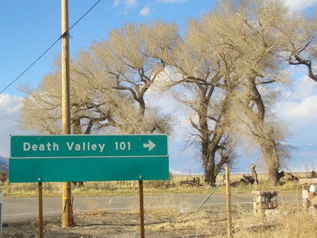 Turnoff to Death Valley at Olancha, CA