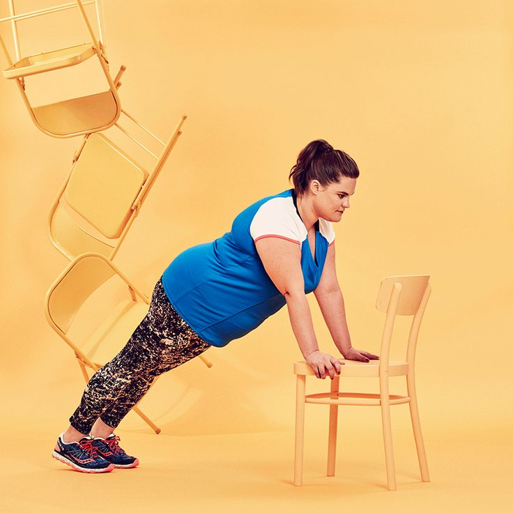 The Cheapest, Most Effective 30-Day Challenge Yet  #refinery29  http://www.refinery29.com/2016/08/118411/chair-exercises-30-day-fitness-challenge#slide-4  Incline Push-upsStand facing the seat of the chair, and place your hands on the outside edges of the seat. Walk your feet back so you're in a straight-arm plank with your hands on the chair. Bend your elbows and lower your body in a straight line towards the chair, and then push back up.Livi Active Wicking Laser Cut Out Active Tee, $44.95…
