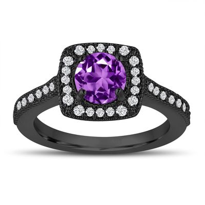 lovely purple amethyst and diamonds wedding ring k black gold vintage style halo pave handcrafted - Purple Diamond Wedding Ring