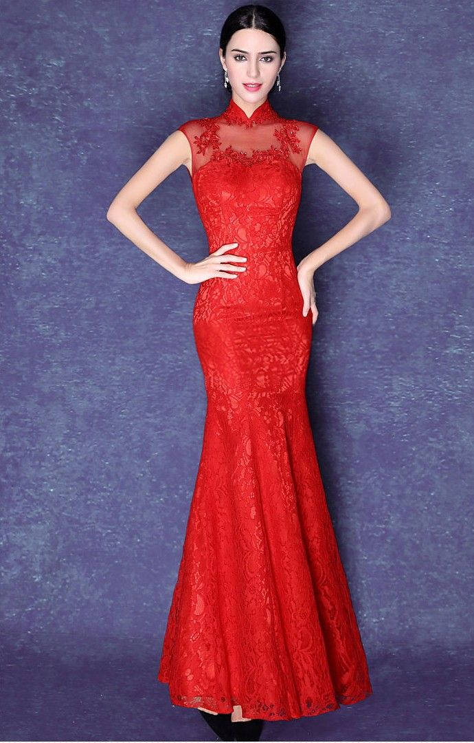 Unique Elegant Red Lace Illusion Neck Mermaid Chinese Wedding Dress Evening Gown iDreamMart