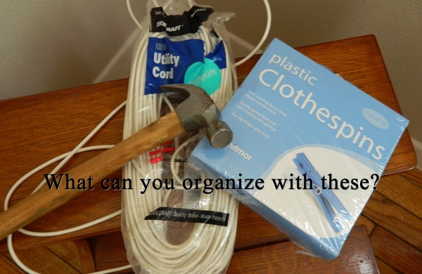 Cheap easy organizing with clothesline and clothes pins | Sew Simple Life