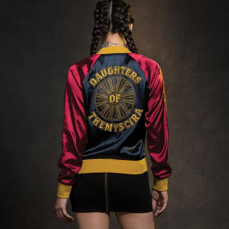 A limited edition fashion collection from DC and Her Universe. Plus size also available online // Her Universe DC Comics Wonder Woman Satin Souvenir Jacket