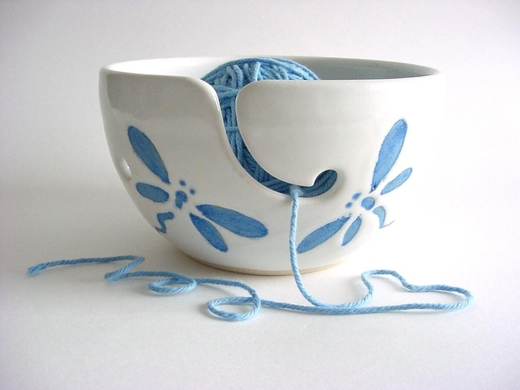 Dragonfly Yarn bowl Handmade Pottery yh273n by DarriellesClayArt, $34.00...... I want one or two for my yarn!!! Love :-)