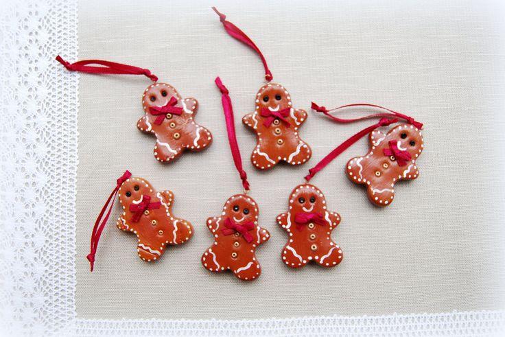zimna porcelana, piernikowe ludziki, na choinkę, Gingerbread man, cold porcelain, christmas decoration