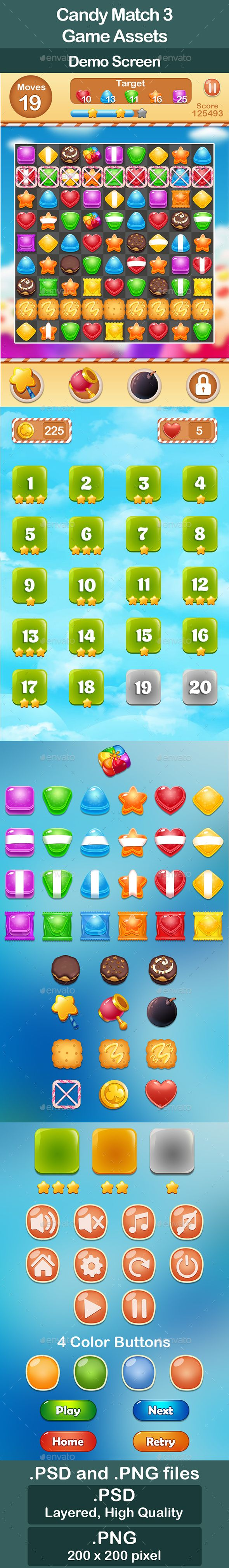 Candy Match 3 Game Assets - Miscellaneous Game Assets