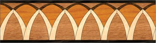 """Arches"": wood flooring inlaid border design. Multiple species, can be sanded and refinished. #border #floorborder #woodfloorborder #woodfloor #wood #woodworking #woodfloordesign #inlay #intarsia #art #design #floor #functionalart #hardwoodfloor #inlaid #marquetry #pattern #parquet #woodinlay"