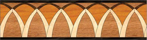 """Arches"": wood flooring inlaid border design. Multiple species, can be sanded and refinished. #border #floorborder #woodfloorborder #woodfloor #wood #woodworking #woodfloordesign #inlay #intarsia #art #design #floor #functionalart #hardwoodfloor #inlaid #marquetry #pattern #parquet #woodinlay"