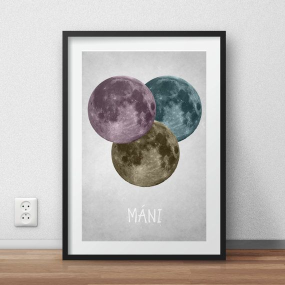 Maní - Many moons Poster - DIGITAL PRINTABLE poster - Instant DOWNLOAD jpg-file - A3