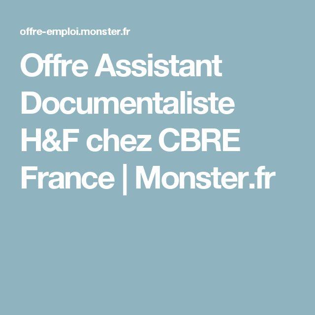 Offre Assistant Documentaliste H&F chez CBRE France   Monster.fr