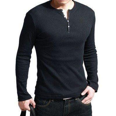 Long sleeve henley shirts or just black long sleeve shirts for Black long sleeve henley shirt