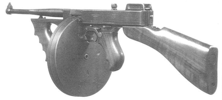 Ametralladora Thompson M1921 con cargador de tambor