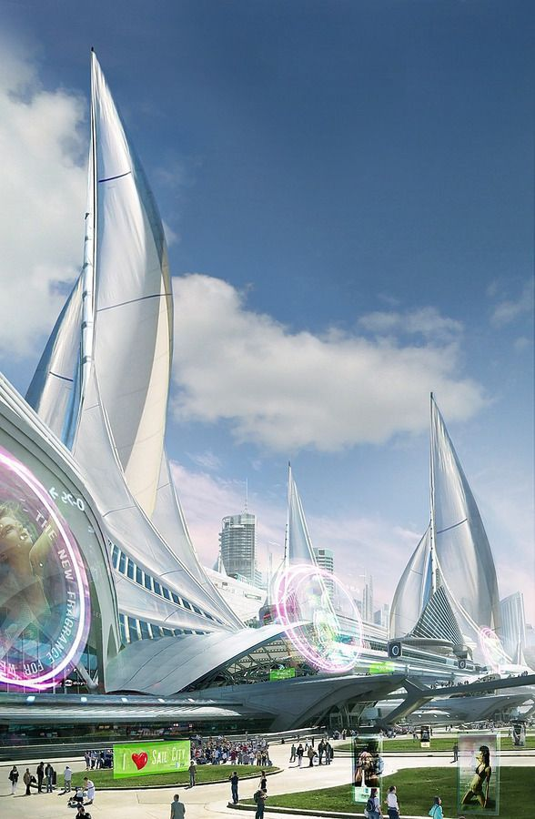 Sail City by aksu, futuristic architecture, future city, futuristic city …