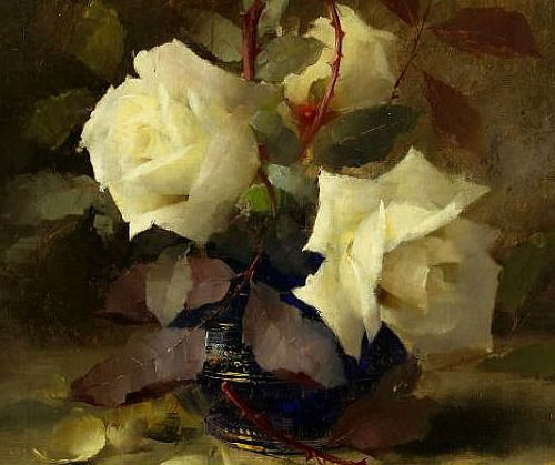 Frans Mortelmans White Roses 19th century