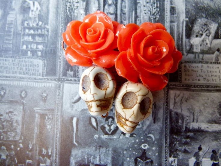Frida Kahlo Inspired Sugar Skull Earrings - Coral/Peach Roses, White Howlite Sugar Skulls - Day of Dead Jewelry, Sugar Skull Jewelry, by MadeFromAbove on Etsy