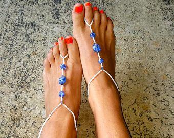 Sandalias pies descalzos, sandalias con cuentas, joyería, tobilleras, accesorios de boda, algo azules, listo para enviar