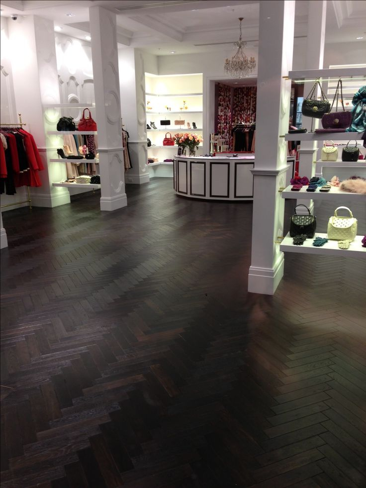 French Oak Herringbone Timber Floors ideal for retail space by Windsor Parquet