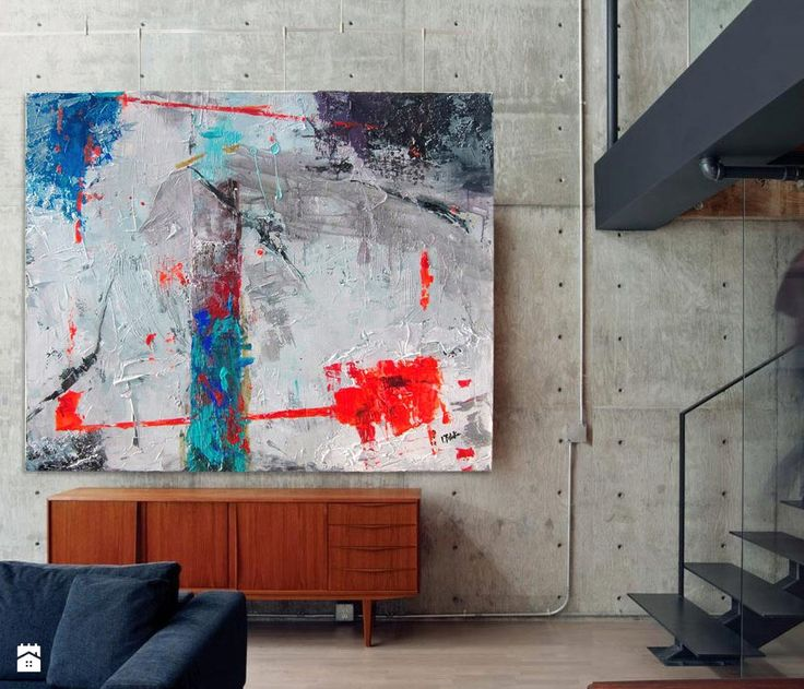 Obraz akryl 04 Abstrakcja W80xS100cm - zdjęcie od Iwona Bilska 2 - Salon - Styl Industrialny - Iwona Bilska 2