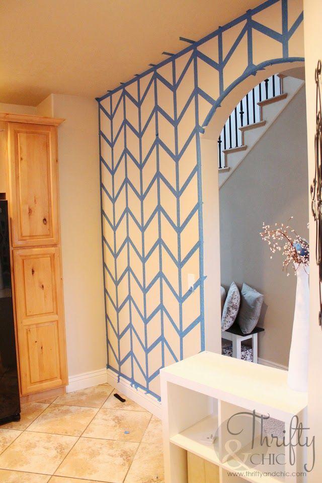How to: Herringbone painted wall. Great step by step tutorial