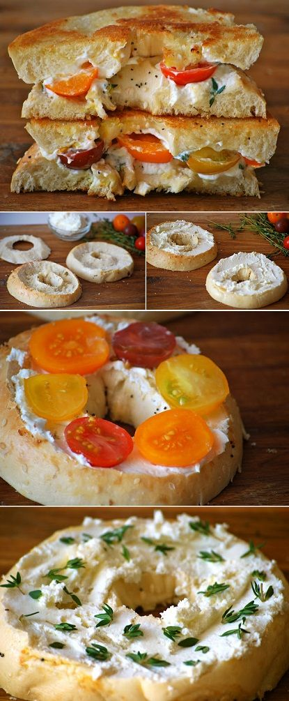 Grilled Bagels with Cream Cheese and baby Heirloom Tomatoes........could be dinner as well! Vegetarian