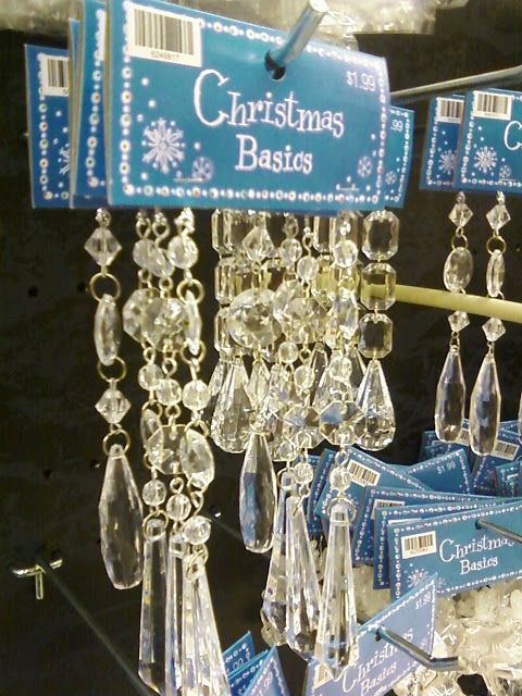DIY chandelier makeover using beaded Christmas droplets