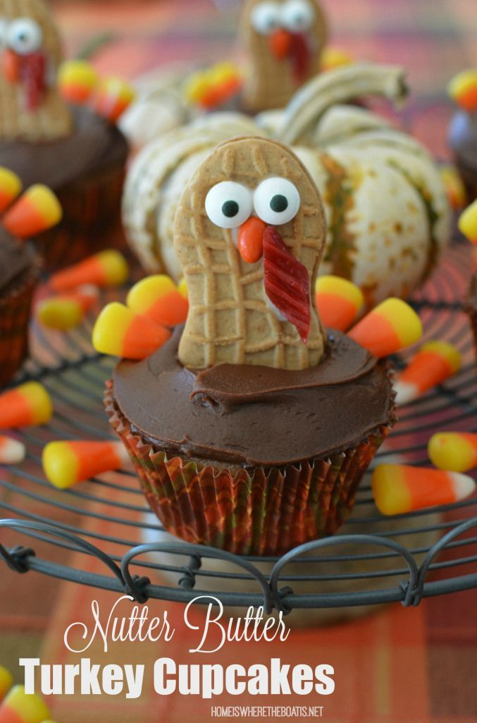 Nutter Butter Turkey Cupcakes | http://homeiswheretheboatis.net #Thanksgiving