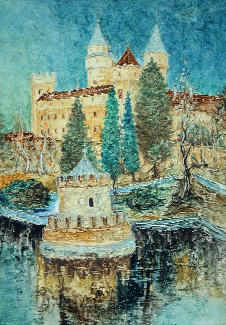 Pavel Móza - Zámocké jazierko, olej, 2002, 41x29 cm, cena - 600€