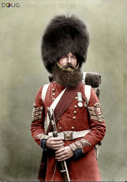 thesixthduke:  bantarleton:  Colour Sergeant William McGregor, 1st Battalion Scots Fusilier Guards, July 1856. He was wounded during the Battle at the River Alma on 20th September 1854 and wears both the British Crimea and the Order of the Medjidie Turkish medals.   I can't get over how awesome this guy is.