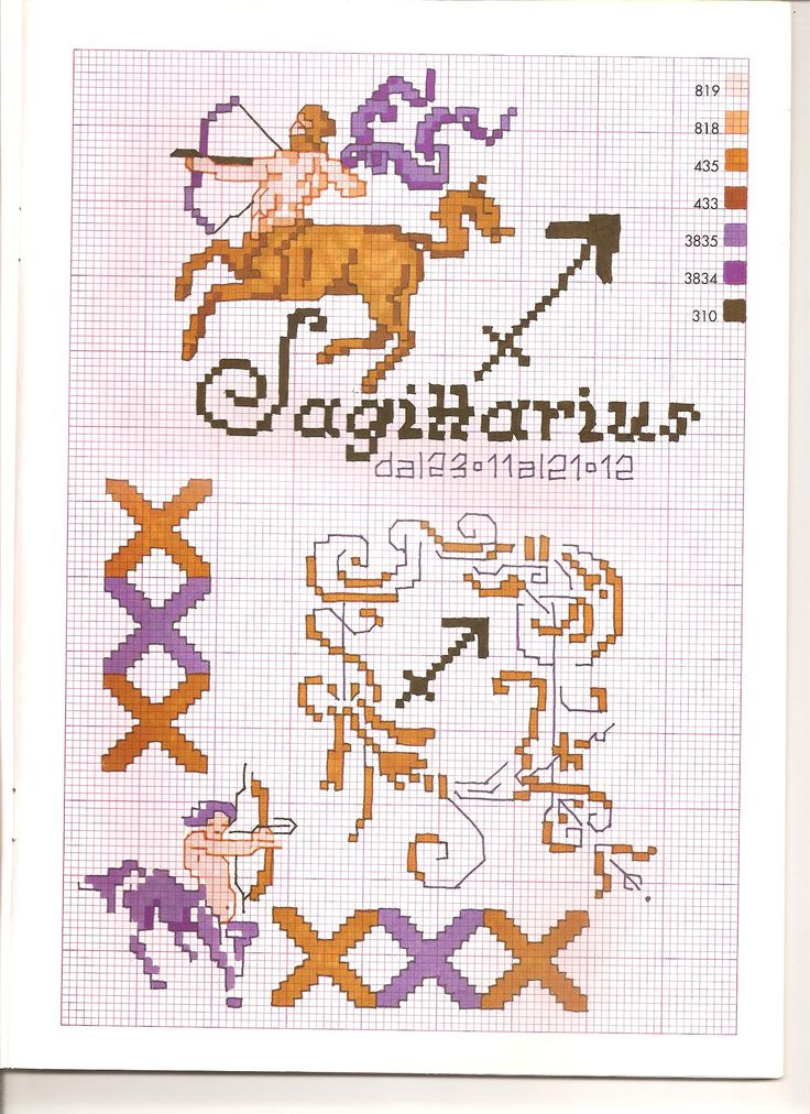 Borduurpatroon Sterrenbeeld Kruissteek *X-Stitch Pattern Zodiac ~Serie 3-12: Boogschutter 23-11/22-12 *Sagittarius~