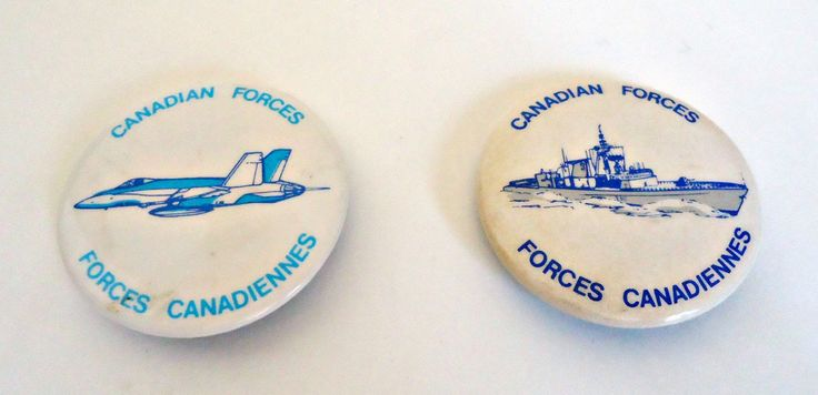 2 Pinback Button Vintage Canadian Forces Pin Buttons 1980's by TreasureCoveAlly on Etsy