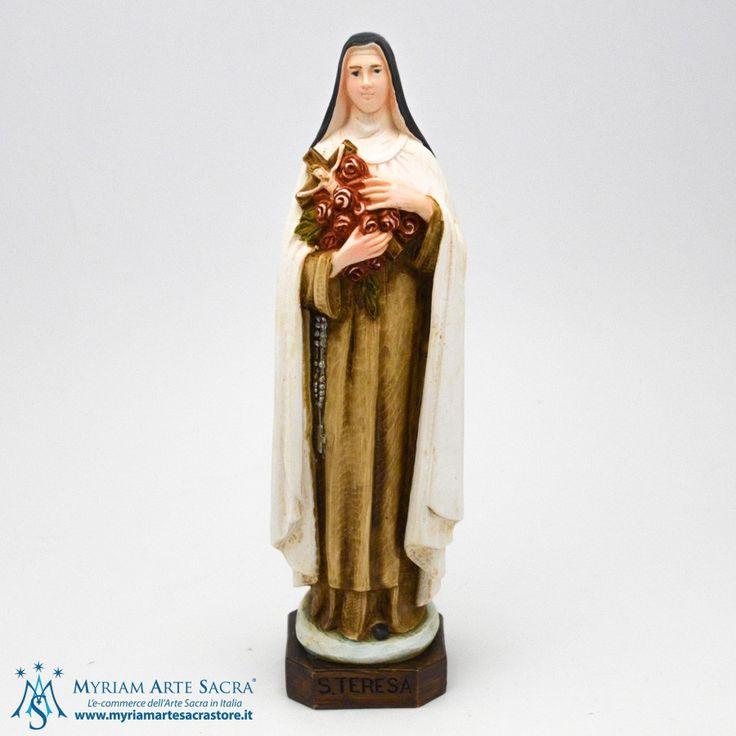 Statua Santa Teresa di Lisieux realizzata in resina. Dipinta interamente a mano. La statua è un prodotto made in Italy. Scatolata. H 20 CM #myriamartesacra