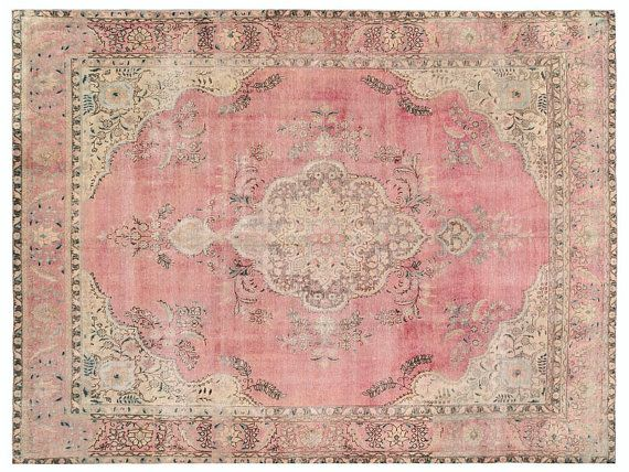 Vintage Persian Rug X Ft 377 287 Cm Pink Color Authentic Handmade Carpet Free World Wide Shipping