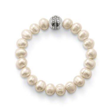 Charm Bracelet -  black plated silver, dense spread white zircon, pearls TS A1083-167-14
