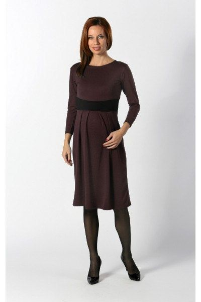 Long Sleeve Dark Brown Maternity Dress  Plus Size by MammaWebShop