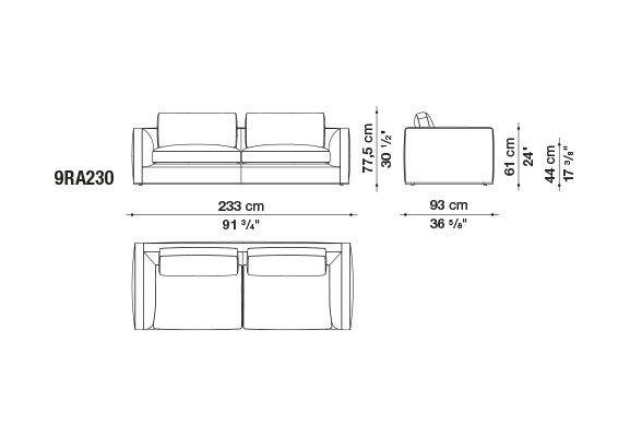 Dimensions Richard 3 Seater Sofa B B Italia Italia Design Antonio Citterio