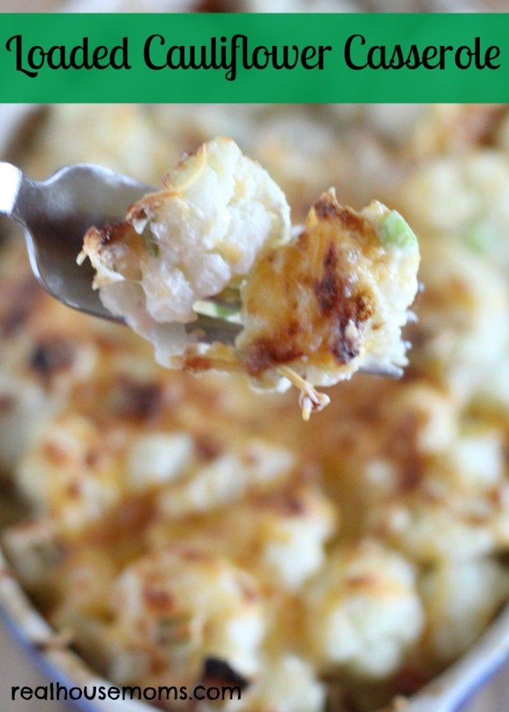 Loaded Cauliflower Casserole is unbelievably tasty, full of fantastic flavor, and tastes like loaded potatoes, but without all the carbs! Cauliflower, bacon, cheese, and green onions make a wonderful combination!