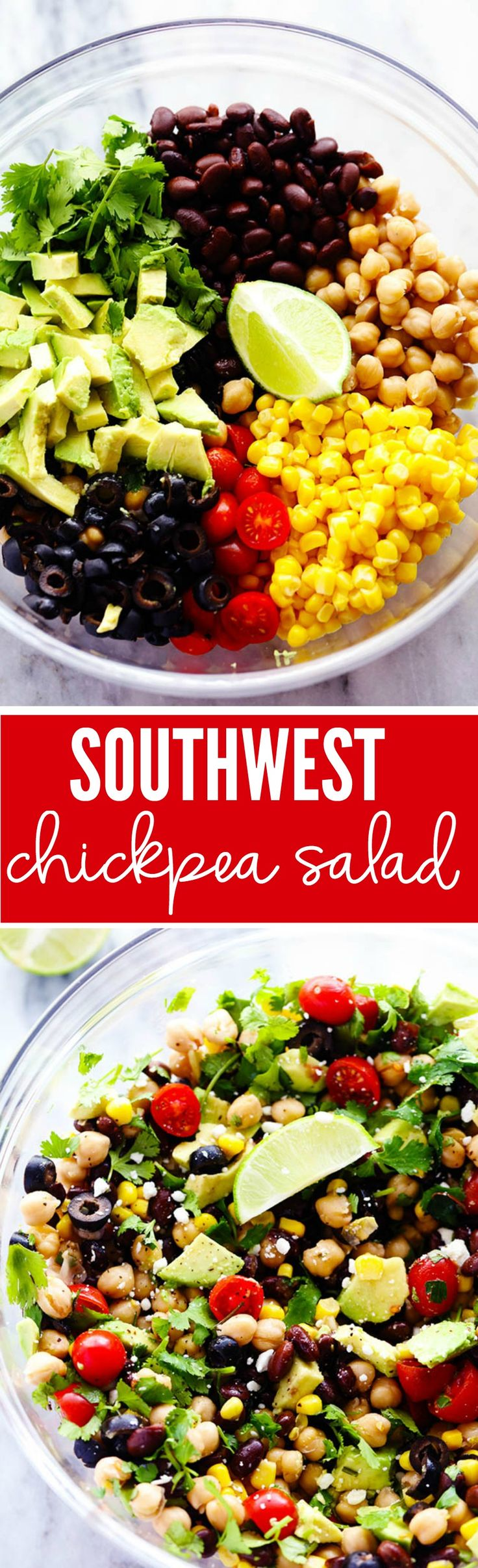 Southwest Chickpea Salad - A delicious and fresh chick pea salad filled so many delicious flavors and textures! This salad is fresh and healthy and easy to make!