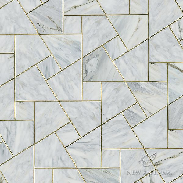 Moderne, Waterjet Stone Mosaic, Shown In Polished Cirrus And Brass.