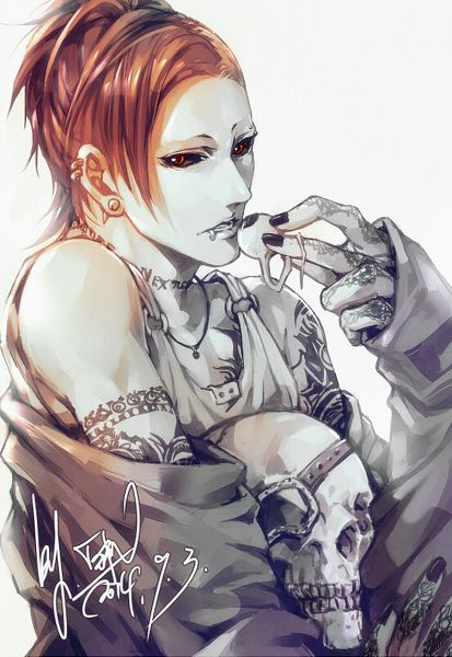 Adopted !! Uta . He is a vampire . He hates that all he knows will die . He carries his father's's skull