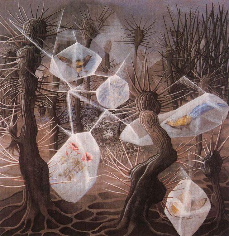 Remedios Varo. Alegoría al invierno. Guache sobre papel. 1948.