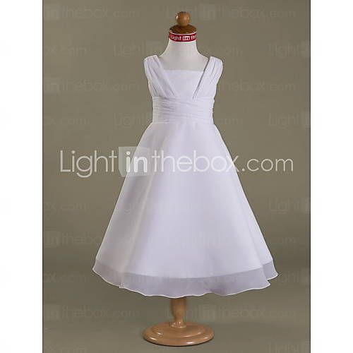 [NOK kr. 489] A-line Square Tea-length Satin Chiffon Flower Girl Dress