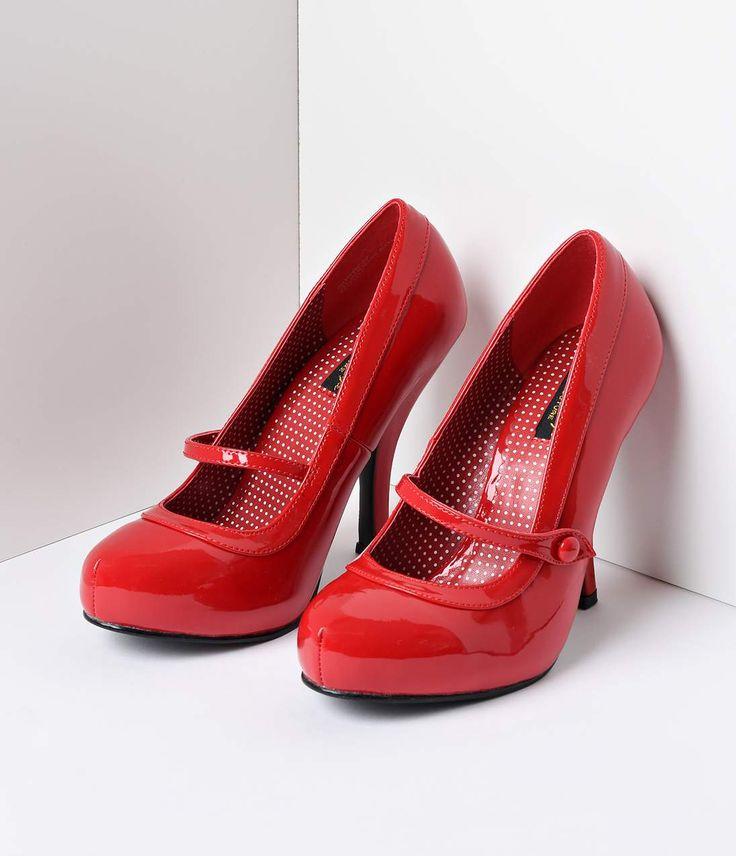 Bettie Page Cherry Red Leatherette Bettie Retro Mary Jane Heels