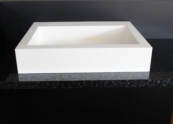 square cast stone vanity basin