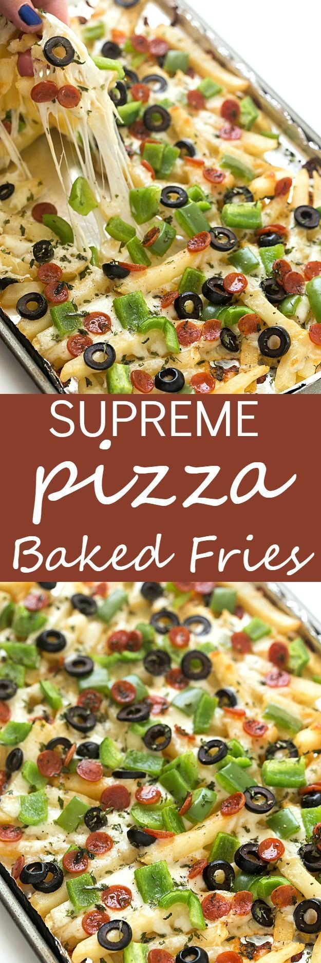 Supreme Pizza Baked Fries Recipe - A super fun twist on plain baked fries… | Visit http://gwyl.io/  for more diy/kids/pets videos
