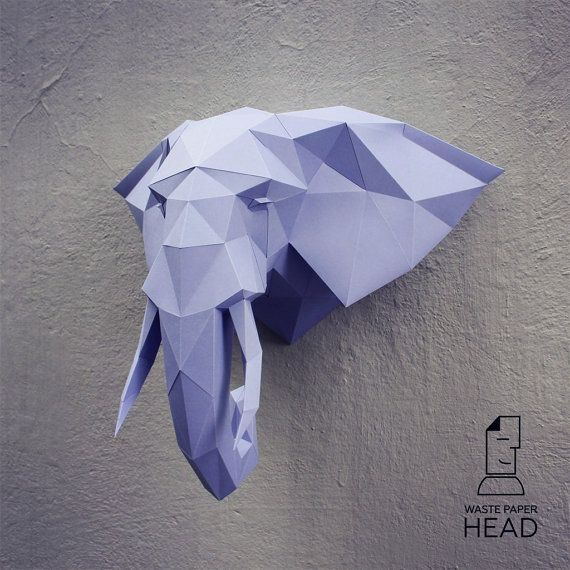 You can make your own elephant head for wall decoration!  Printable DIY template (PDF) contains 13 pages. Use 160-240 g/m2 colored paper. Sizes of the head (height) - 50 cm (A4) or 70 cm (A3). I would rather recommend using A3. If you need another size of finished sculpture, just change print scale and size of paper.  Check out our tutorials on youtube.com/channel/UCTO0rWB3sQv161fWv0yG79Q. More photos on www.behance.net/alisa_slonishyna and instagram.com/explore/...
