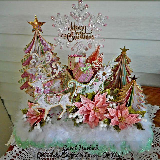 Chocolate Crafts and Bears, Oh My: Reindeer & Sleigh Brenda Walton Die Centerpiece. Includes Tim Holtz Poinsettia Die,Sizzix Snowflake die, Brenda Walton Tree die