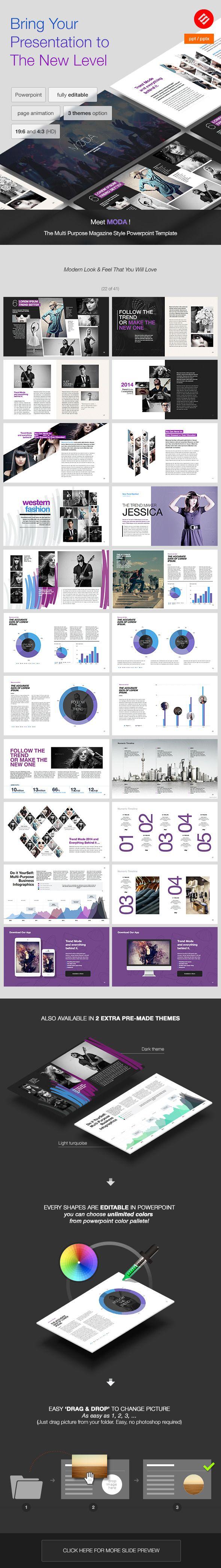 MODA - Modern Powerpoint Template PowerPoint Template / Theme / Presentation / Slides / Background / Power Point #powerpoint #template #theme