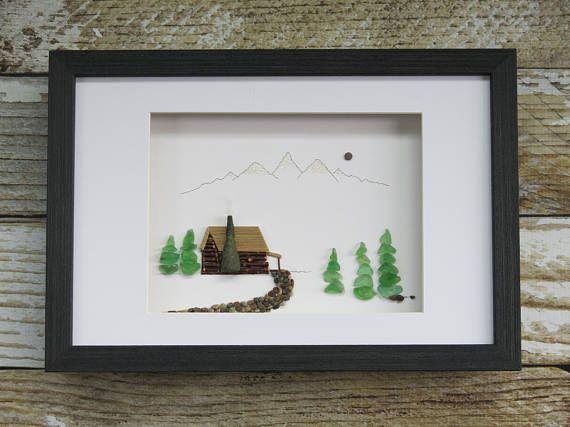 "Original Pebble Art Design,""Log Cabin"",Sea Glass Art,Pebble Art,Fathers Day Gift,Unique Gift,Home Decor,OOAK,Art by M.McGuinness!"